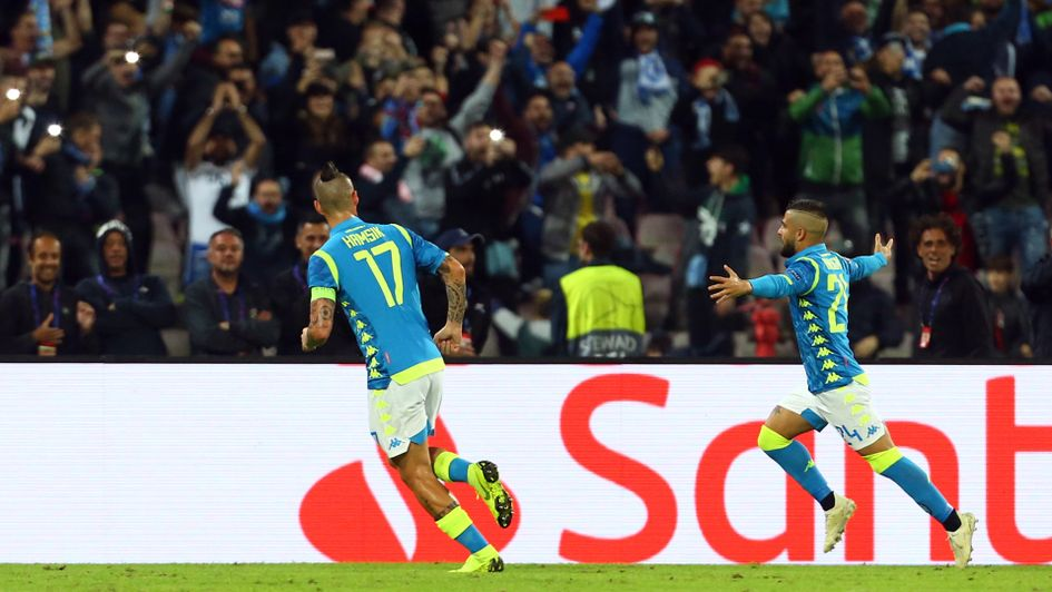 Lorenzo Insigne celebrates his goal for Napoli against PSG in the Champions League
