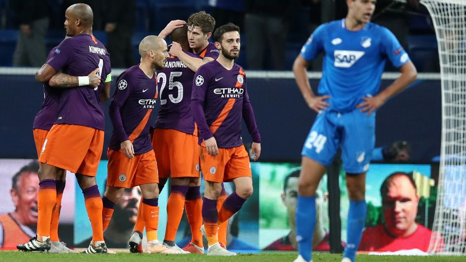 Manchester City celebrates after scoring against Hoffenheim
