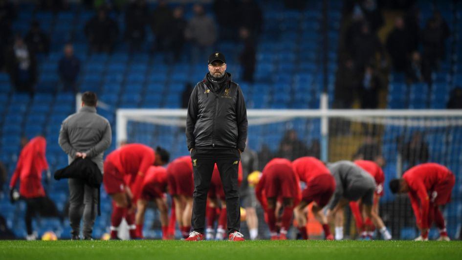 Jurgen Klopp looks on at the Etihad