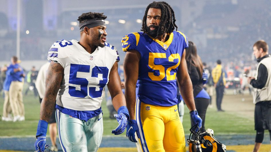 Justin March-Lillard of the Dallas Cowboys and Ramik Wilson of the Los Angeles Rams