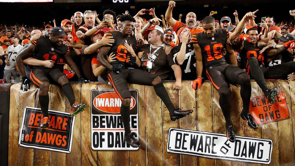 Cleveland Browns celebrate winning their first game