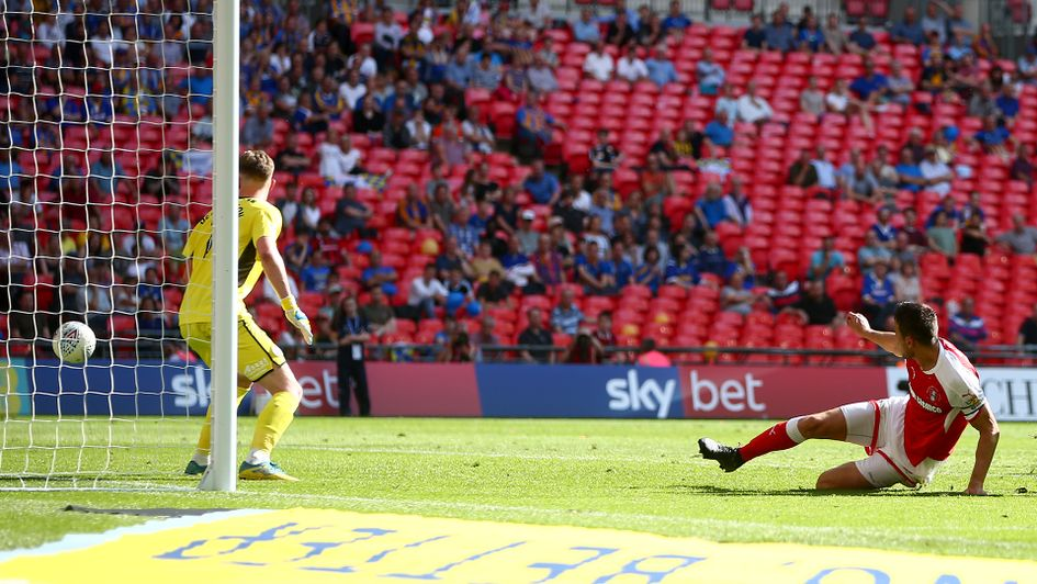 Richard Wood scores Rotherham's extra-time goal at Wembley