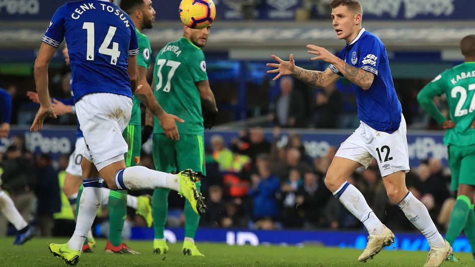 Everton's Lucas Digne after scoring a late equaliser