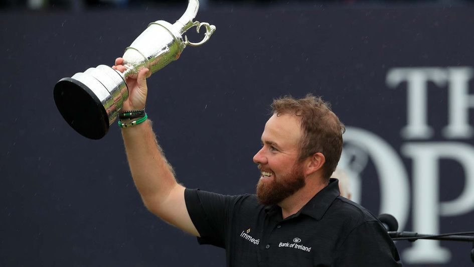 Shane Lowry celebrates winning the Open at Royal Portrush