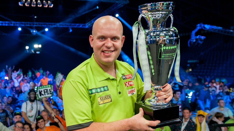 Michael van Gerwen with the European Championship trophy (Picture: Kelly Deckers)