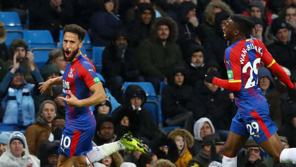 Andros Townsend celebrates scoring for Crystal Palace at manchester City