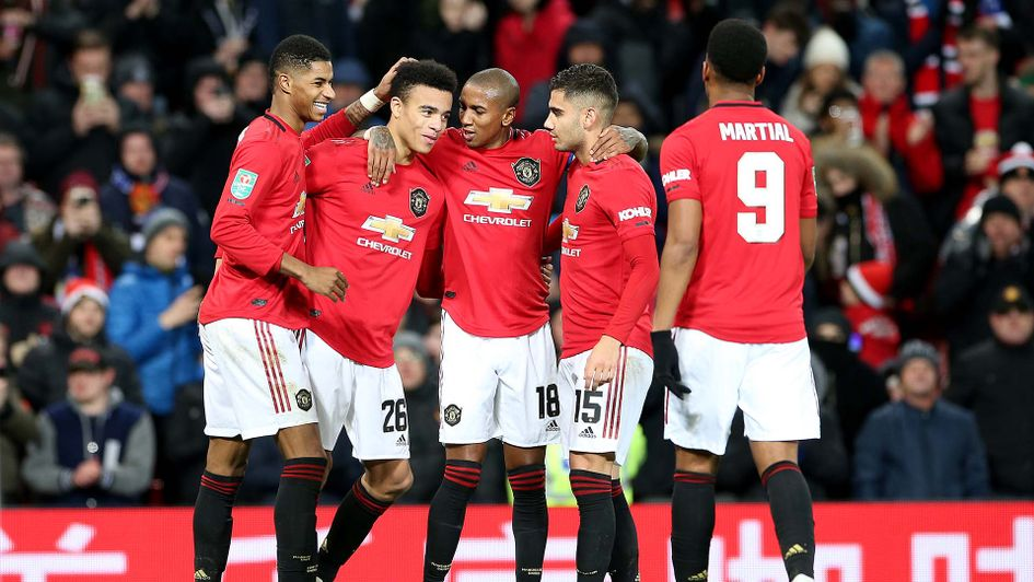 Manchester United celebrates beating Colchester in the Carabao Cup