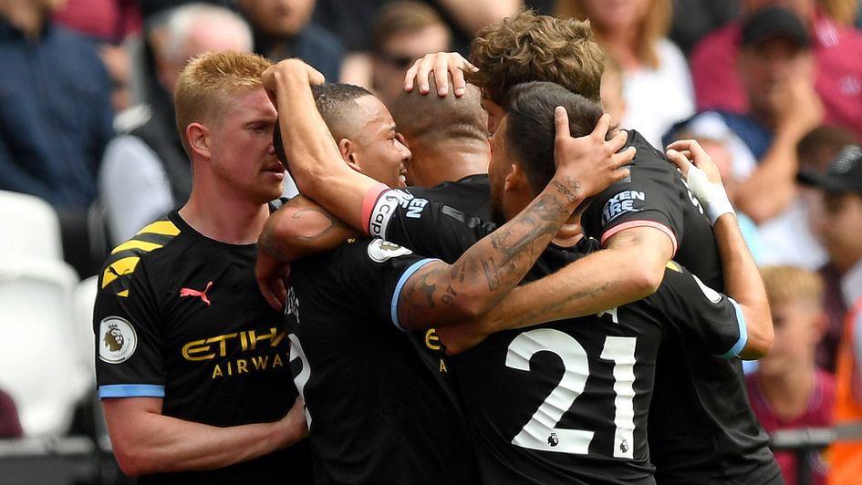 Manchester City celebrate Gabriel Jesus' opener against West Ham