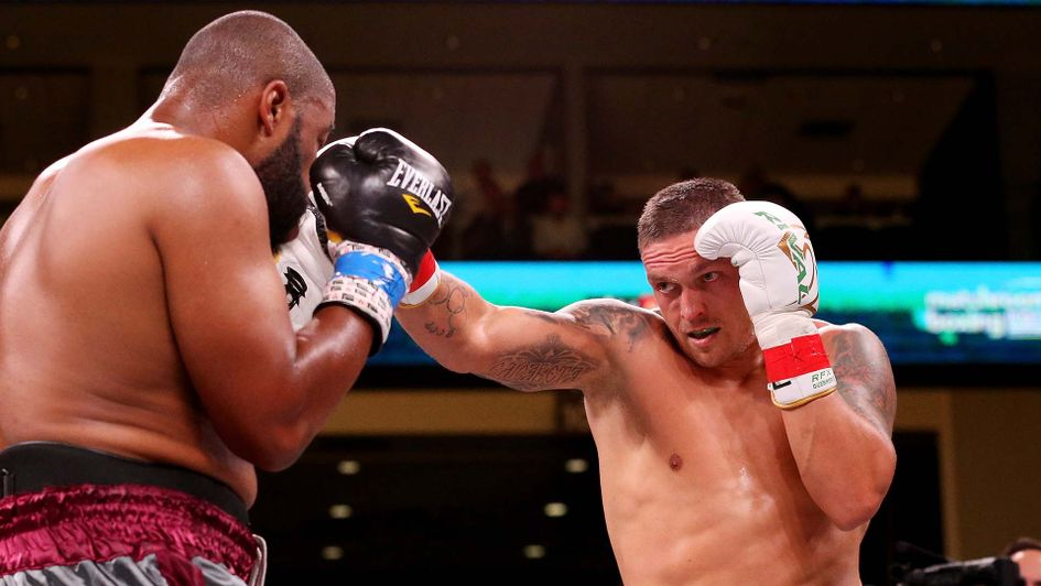 Oleksandr Usyk in heavyweight action against Chazz Witherspoon