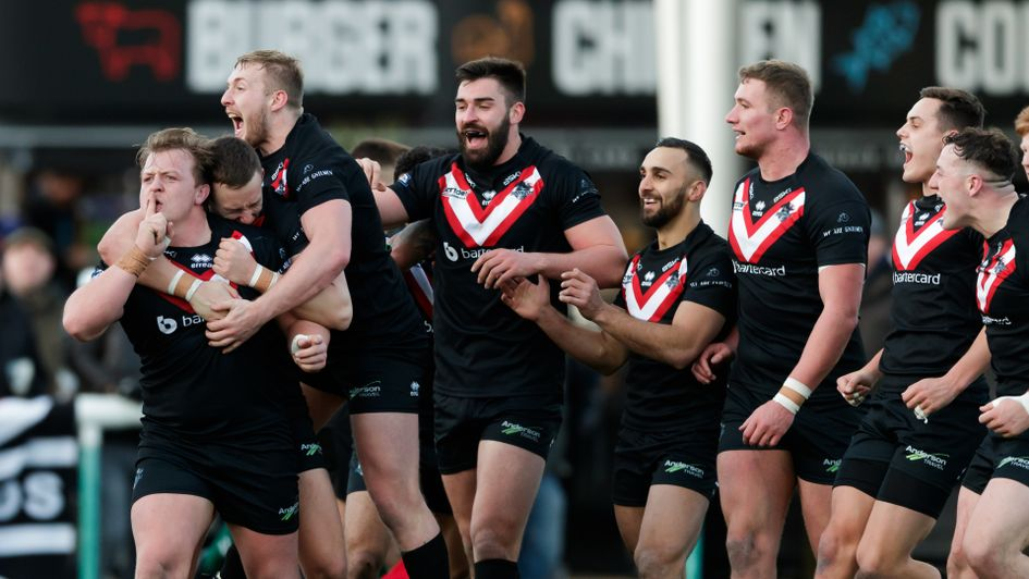 London Broncos players celebrate