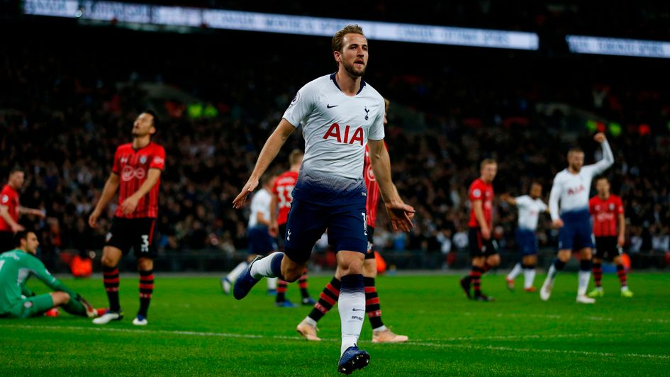 Tottenham's Harry Kane celebrates his goal against Southampton