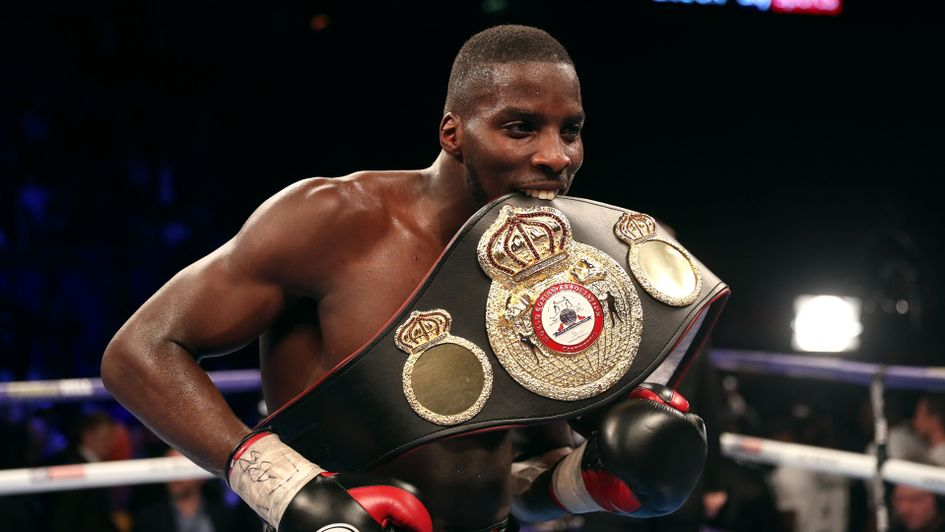 Lawrence Okolie celebrates defeating Isaac Chamberlain