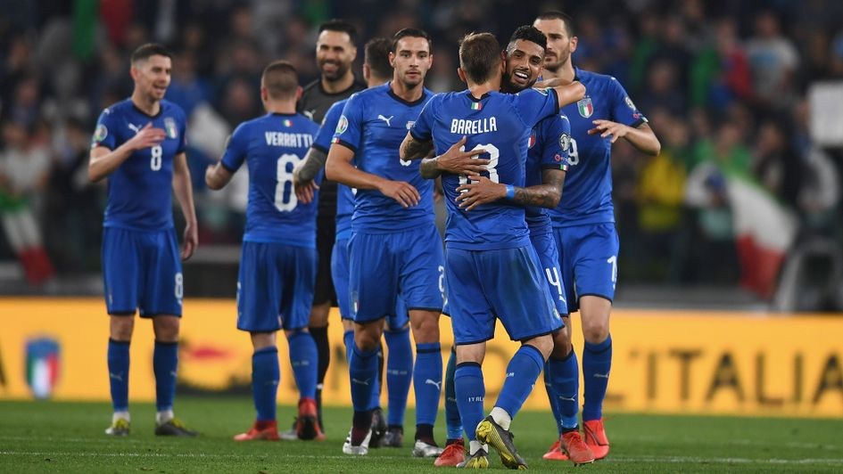 Italy celebrate their victory over Bosnia