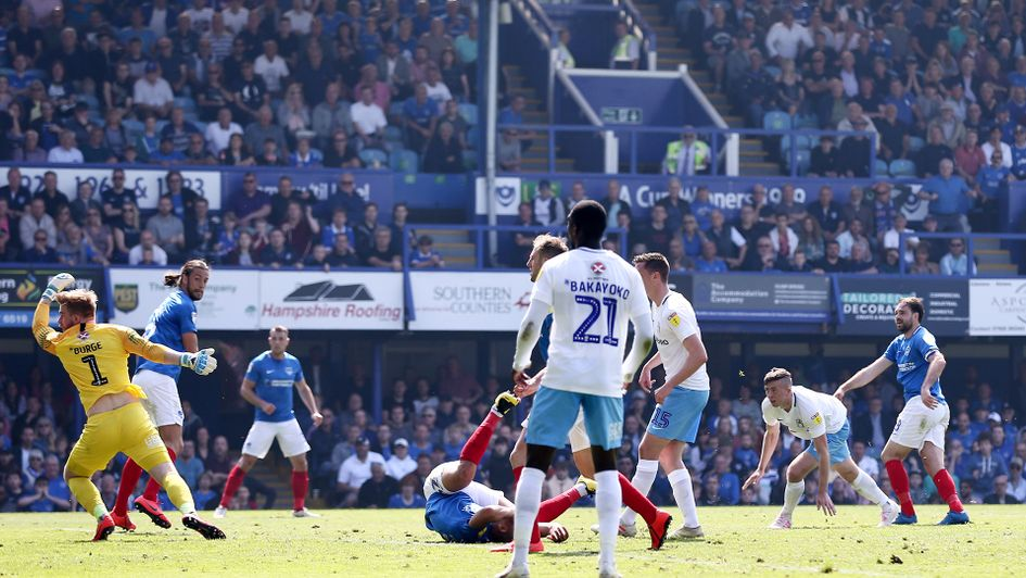 Brett Pitman scores the winning goal for Portsmouth against Coventry