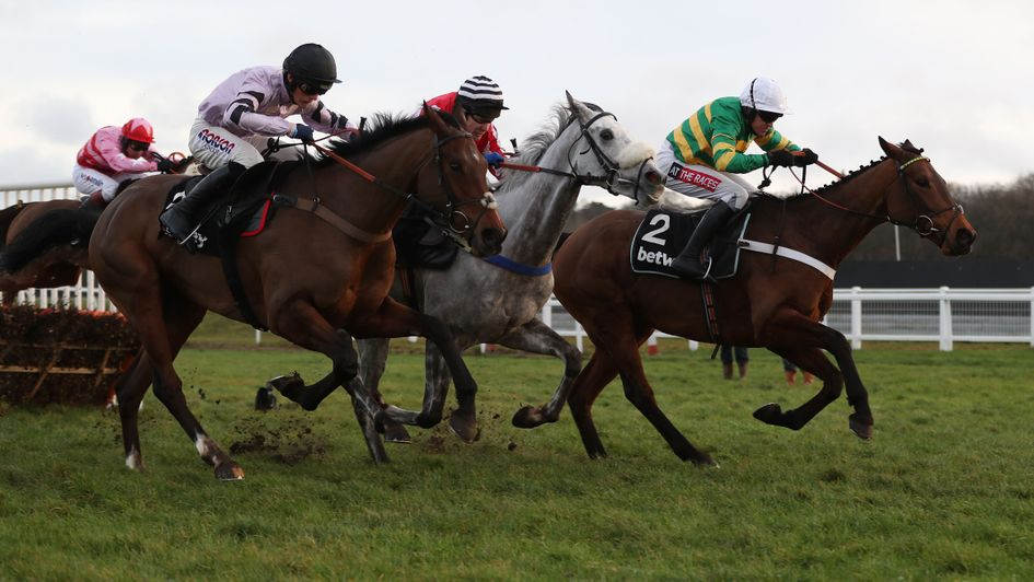 Getaway Trump (nearside) chasing home Champ
