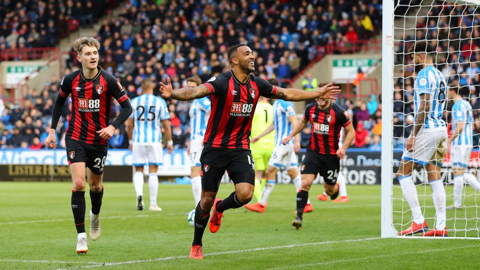 Callum Wilson celebrates after scoring for Bournemouth at Huddersfield