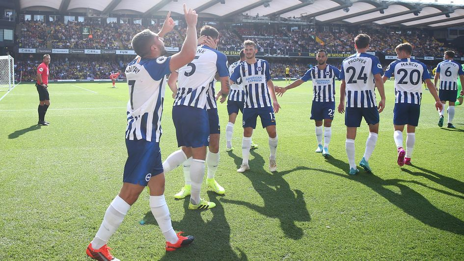 Brighton celebrate Neal Maupay's goal against Watford