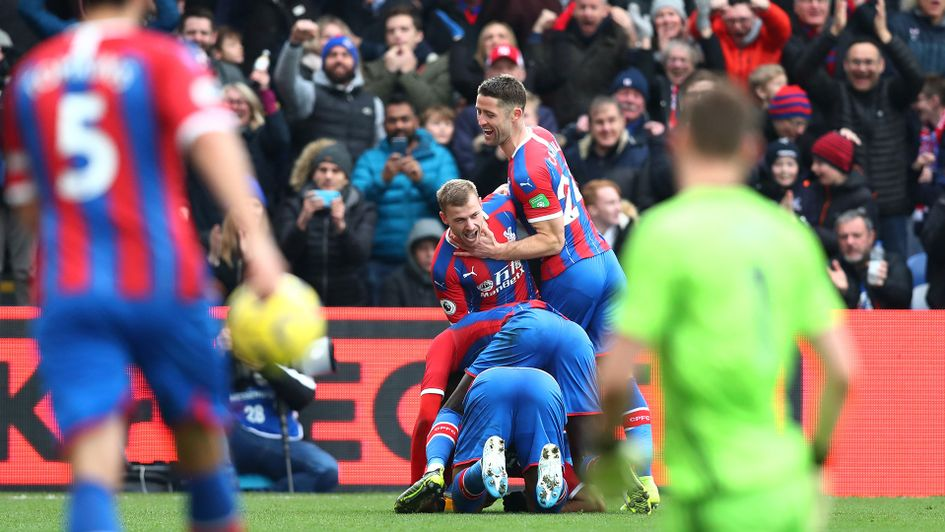 Crystal Palace celebrate their equaliser against Arsenal