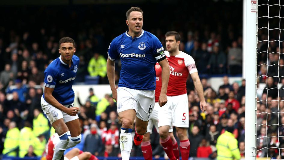 Phil Jagielka celebrates scoring for Everton against Arsenal