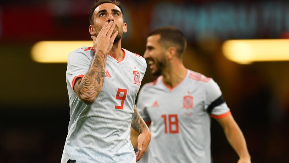 Paco Alcacer celebrates against Wales