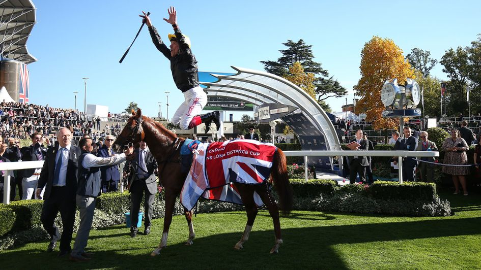 Frankie Dettori celebrates in his usual style