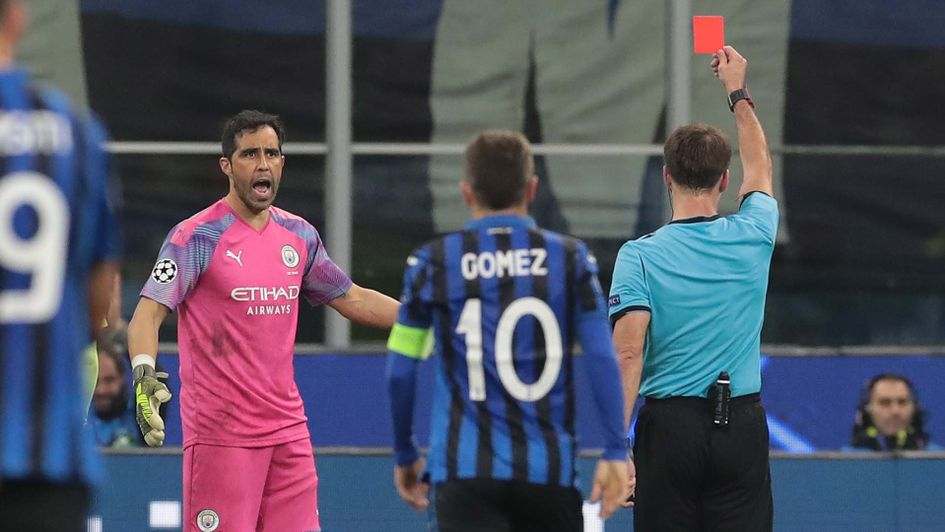 Manchester City keeper Claudio Bravo is sent off during their Champions League draw at Atalanta