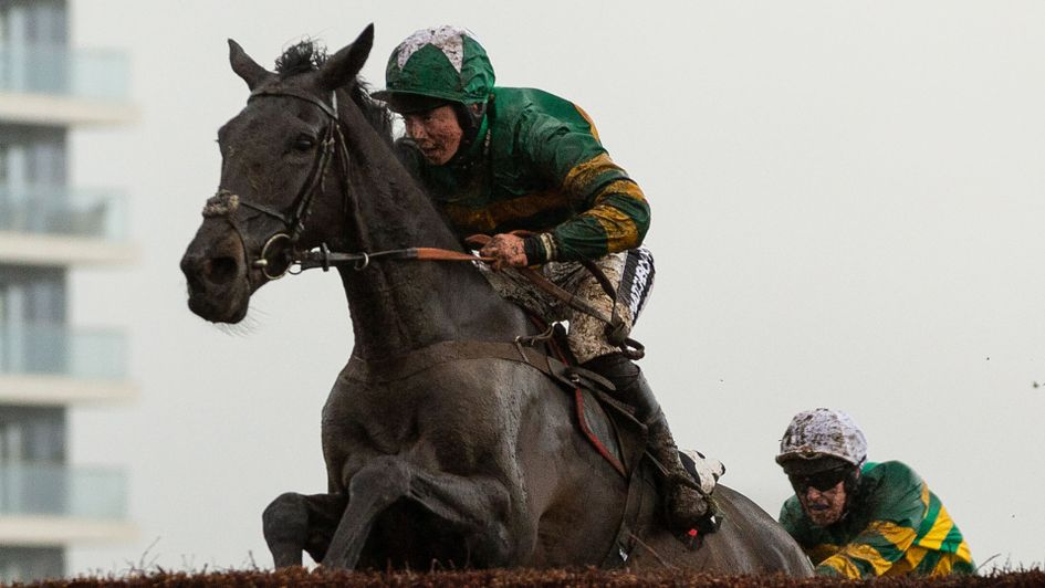 Bryony Frost in perfect harmony with a mud-splattered Kapcorse