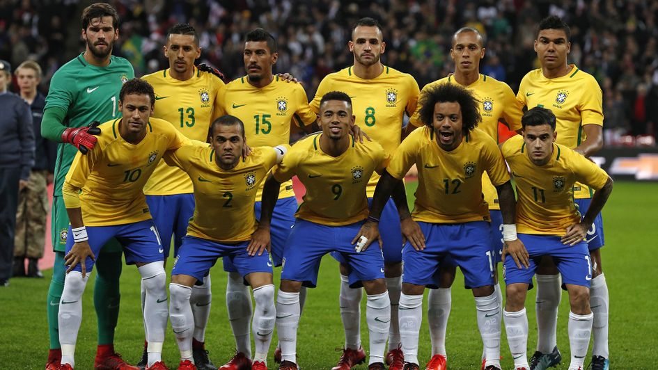 Brazil players, pictured ahead of their friendly with England in November 2017