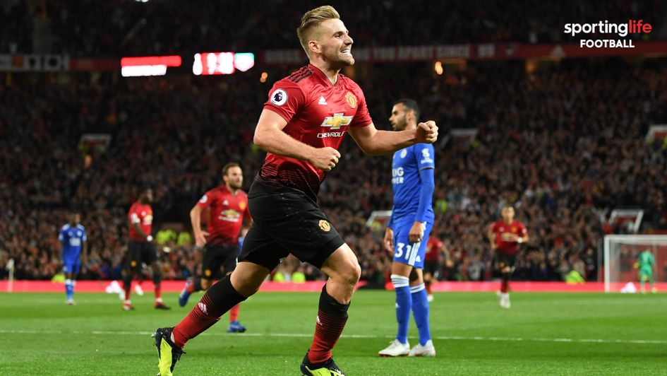 Luke Shaw: The Manchester United full-back celebrates his first goal in professional football
