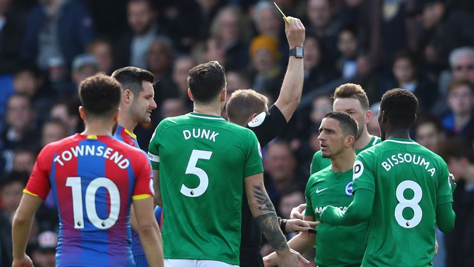 Brighton's Anthony Knockaert is booked after 28 seconds against Palace