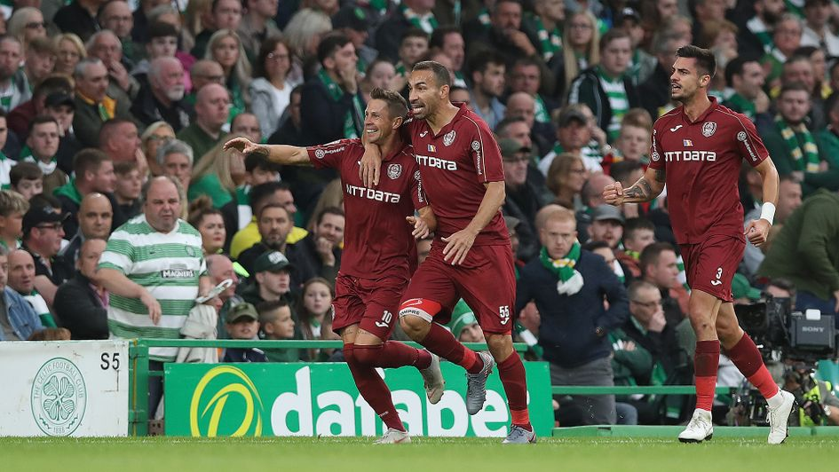 Cluj's Ciprian Deac celebrates his goal against Celtic