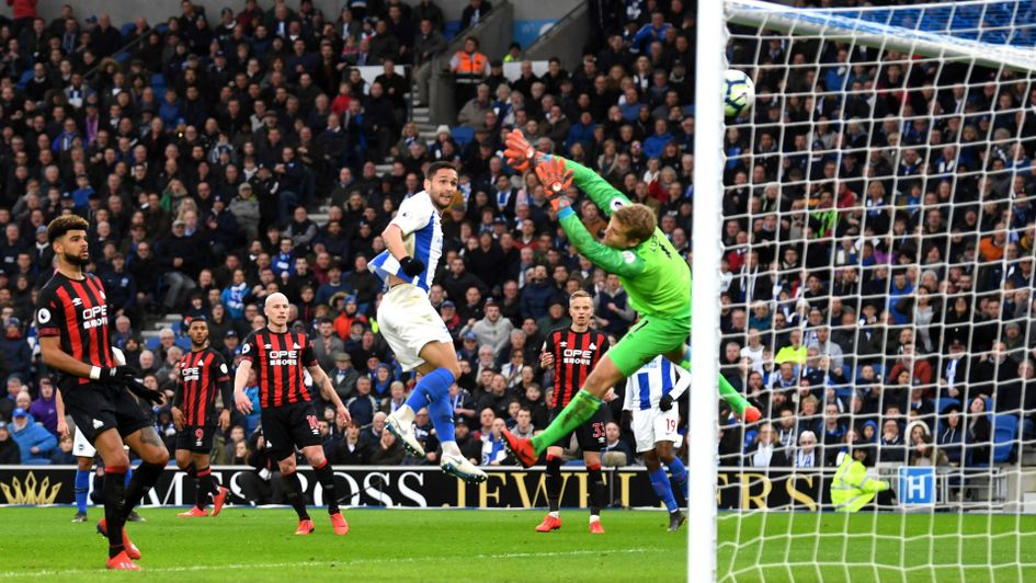 Florin Andone scores Brighton's winner against Huddersfield