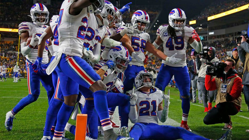 The Buffalo Bills celebrate in the NFL