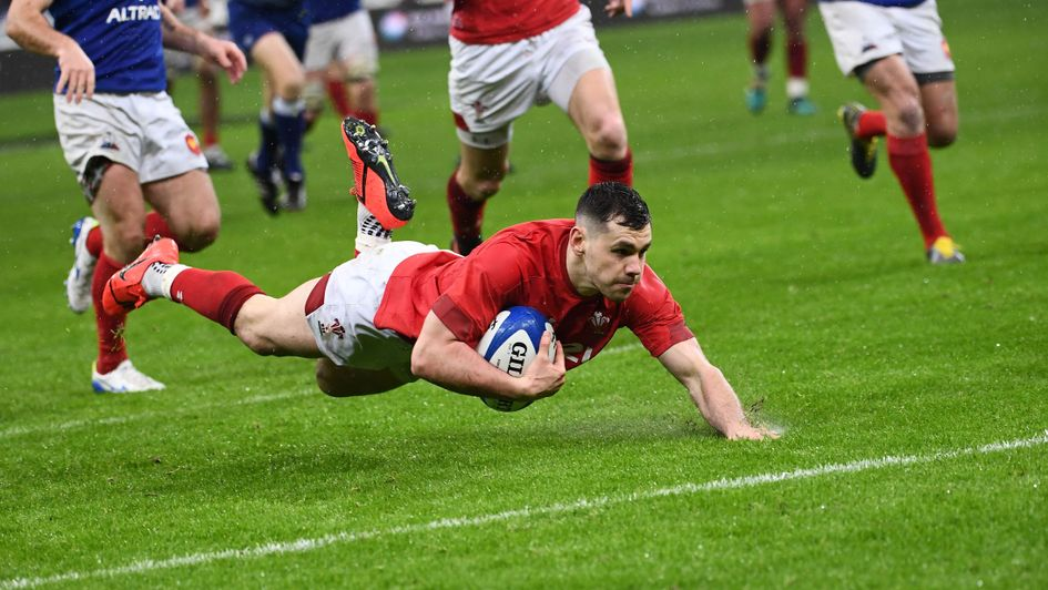 Wales' Tomos Williams scores a try during the Six Nations clash with France