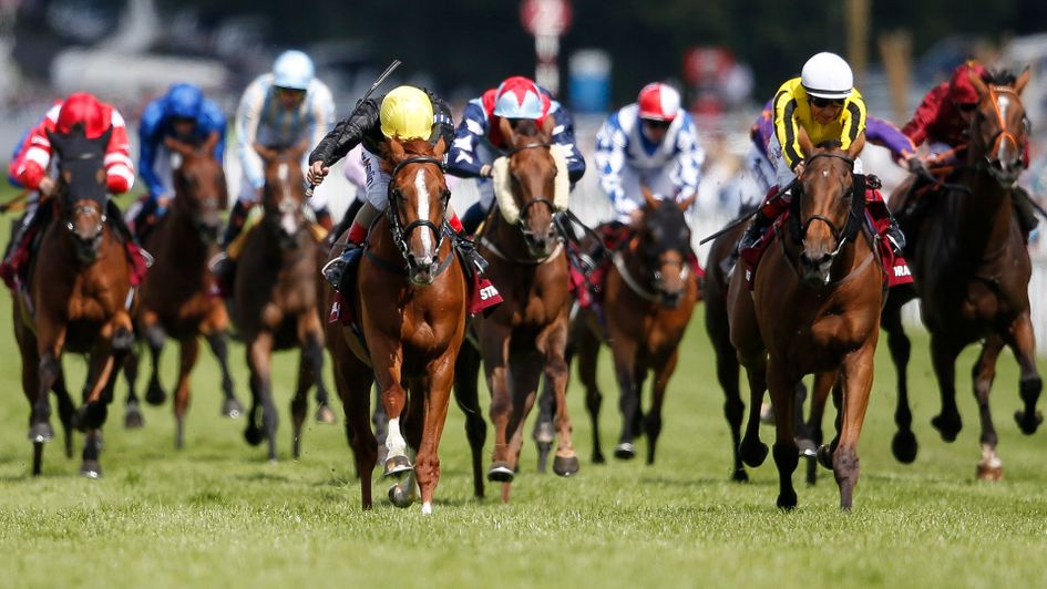 Stradivarius wins the Goodwood Cup from Big Orange and Desert Skyline