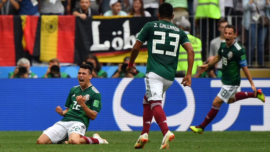 Mexico forward Hirving Lozano celebrates his goal against Germany