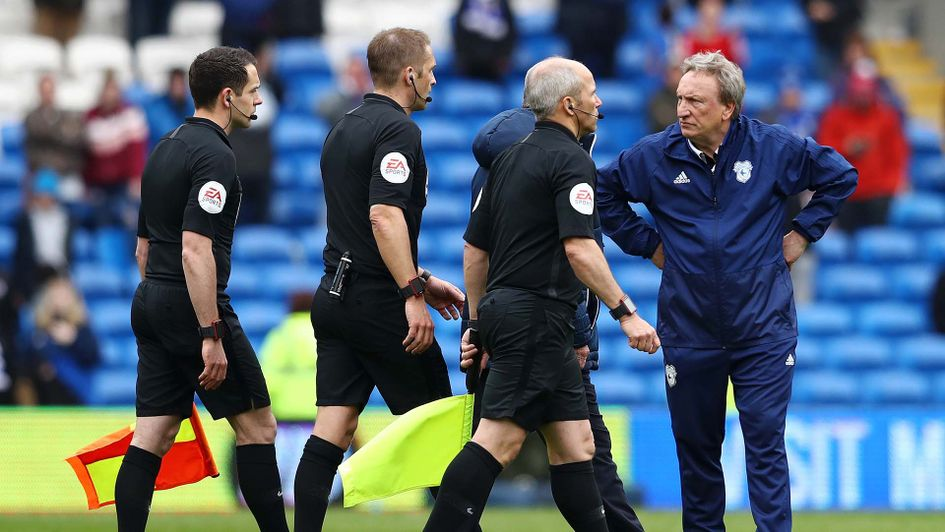 Cardiff manager Neil Warnock fumes at the officials after Chelsea defeat