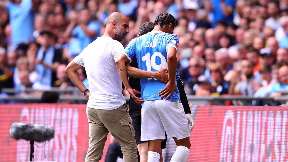 Manchester City winger Leroy Sane goes off injured during the Community Shield