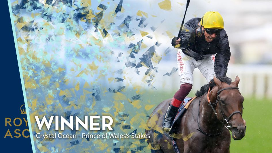 Crystal Ocean and Frankie Dettori win the Prince Of Wales's Stakes
