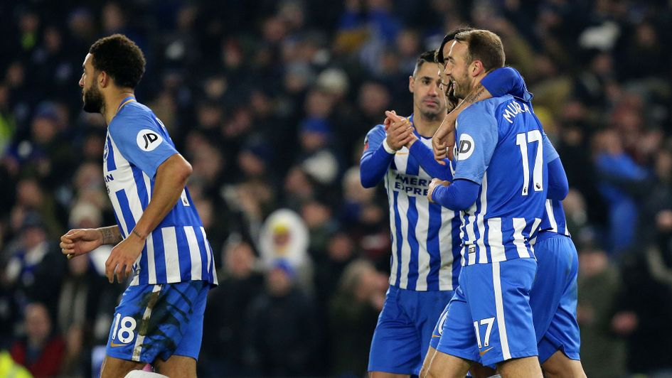 Glenn Murray is congratulated by his team-mates