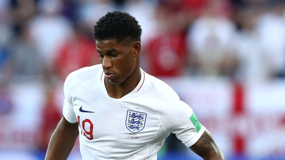 Marcus Rashford in action for England at the World Cup