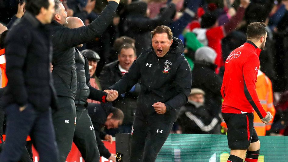Southampton manager Ralph Hasenhuttl celebrates on the touchline