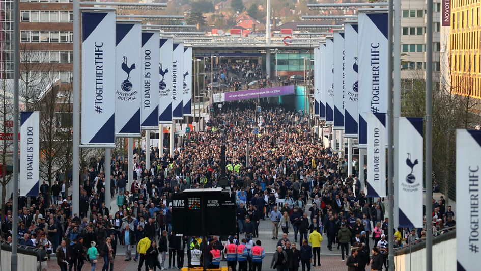 Tottenham fans make their way to Wembley