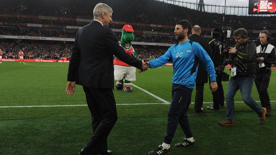 Arsene Wenger and Danny Cowley meet at the Emirates in 2017