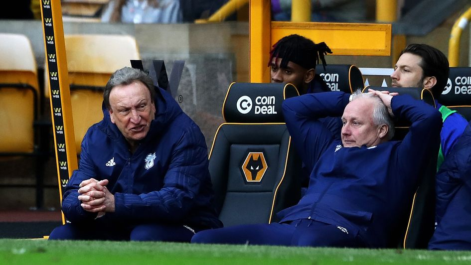 Neil Warnock: It's been a frustrating Premier League campaign for the Cardiff boss and assistant Kevin Blackwell (right)