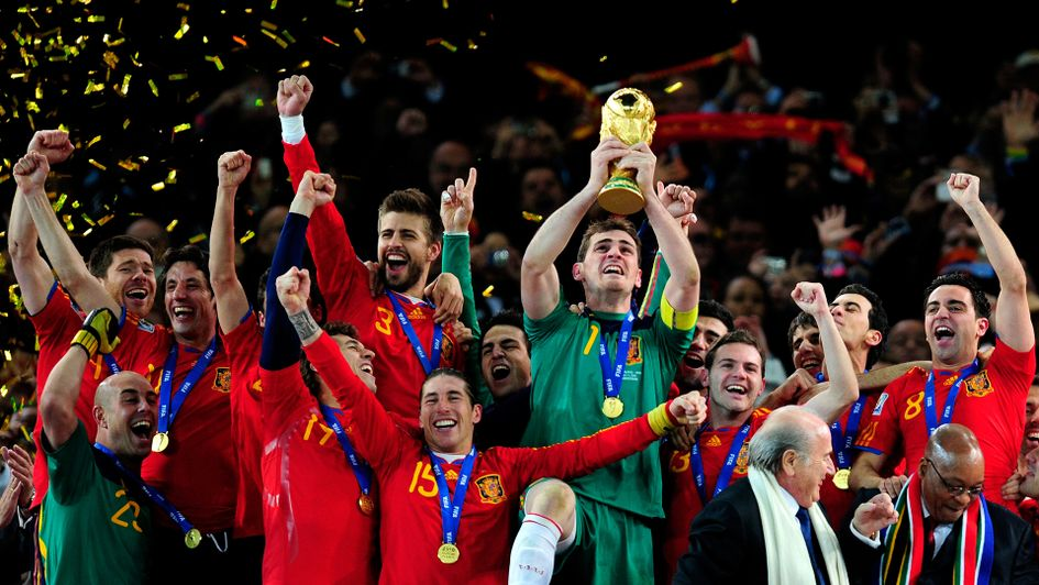 Spain life the World Cup in 2010