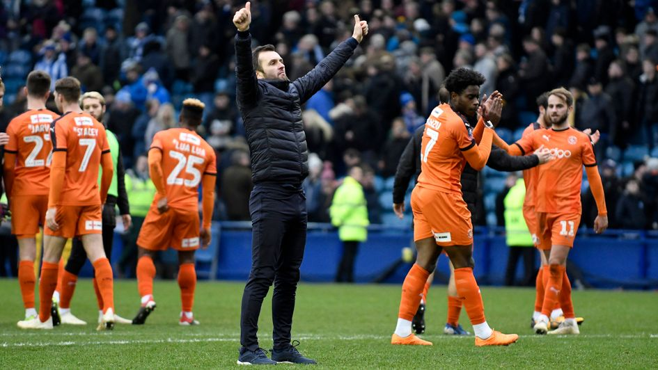 Nathan Jones: The 45-year-old celebrates Luton's draw at Sheff Wednesday in the FA Cup