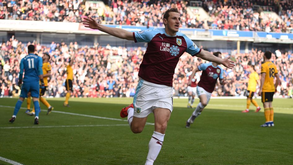 Celebrations for Burnley's Chris Wood against Wolves - the strike went down as a Conor Coady own goal