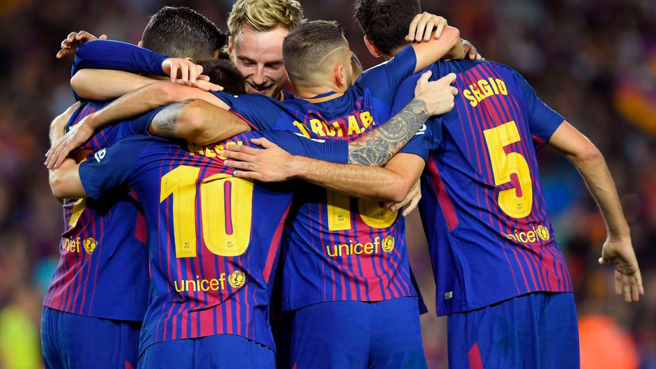 Barcelona celebrate another Lionel Messi goal