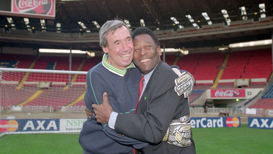 Gordon Banks pictured with the man he famously denied in 1970, Pele